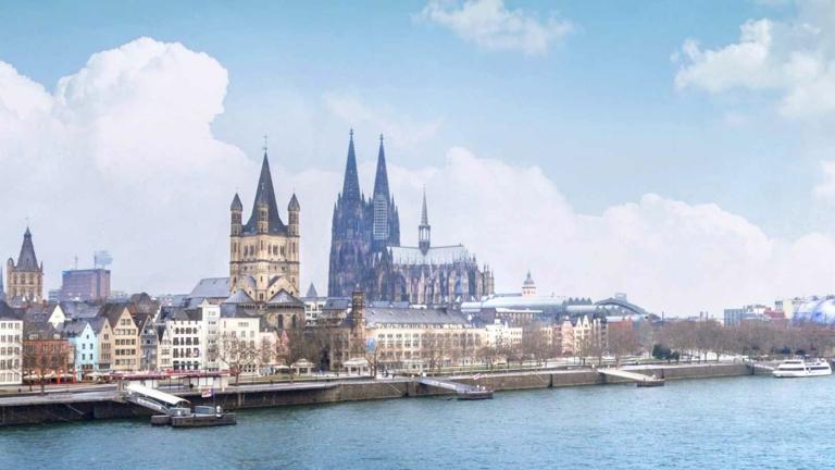 Stadtansicht Köln, Dom und Rheinufer